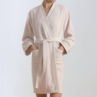 Cream bathrobe