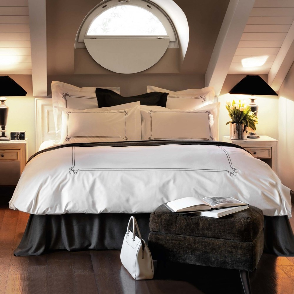 Black and white solid colored linens