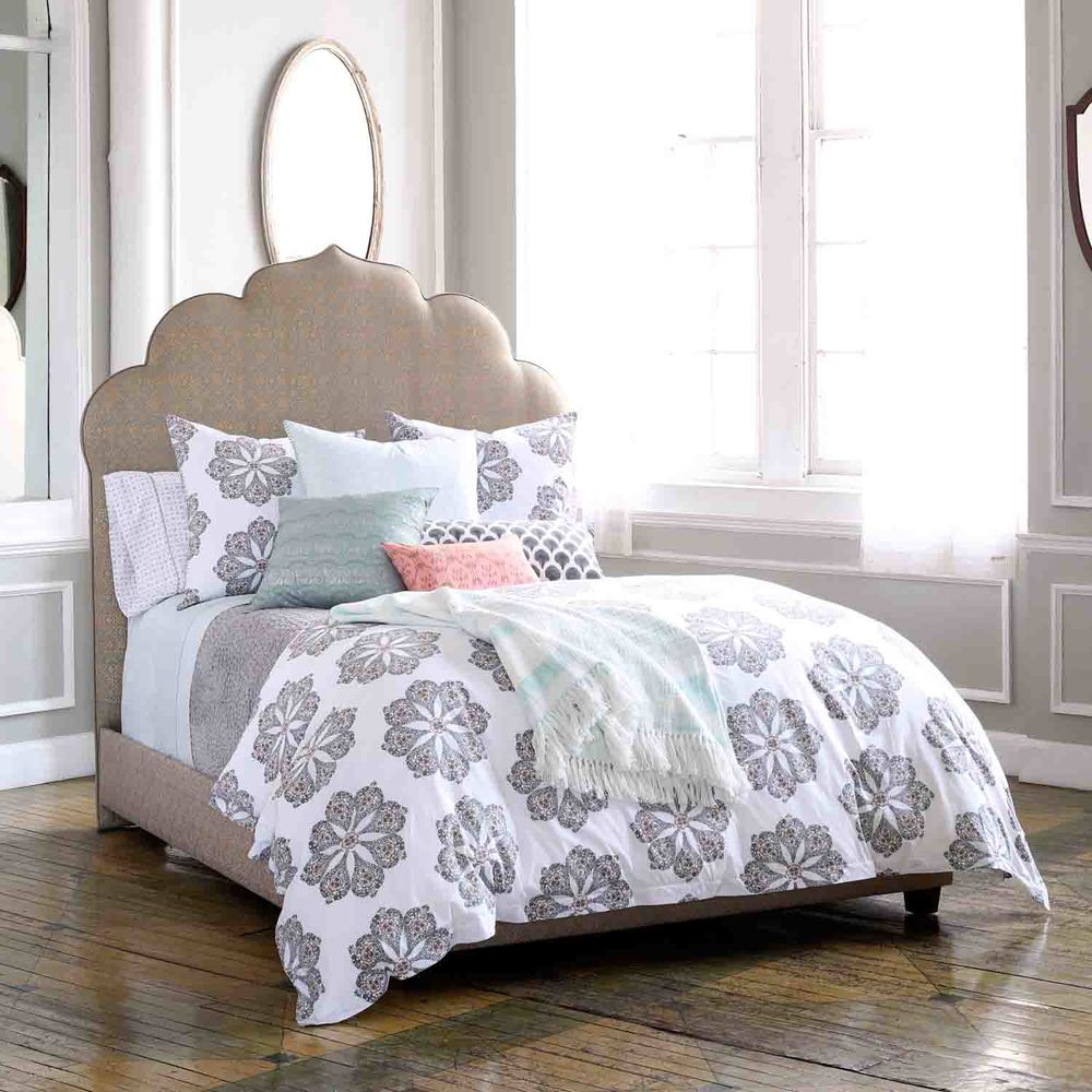 Grey floral pattern linens