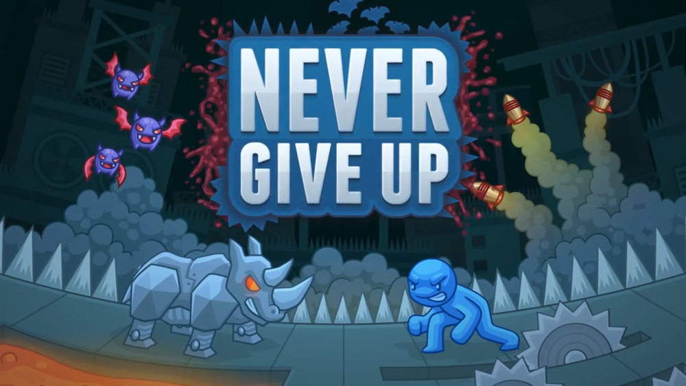 Never Give Up - When the going gets tough, the tough don't quit! From the creators of the brutal and beloved Flash series enjoyed by millions of players worldwide comes the latest installment of hardcore, twitch-based platforming. Every time you beat a level, another element is layered in to make it even harder. Buzzsaws? Guided missiles? Giant rhino mechs? Never Give Up has all that and more with over 250 stages, huge boss battles, a level editor, and full voice acting by none other than Egoraptor.