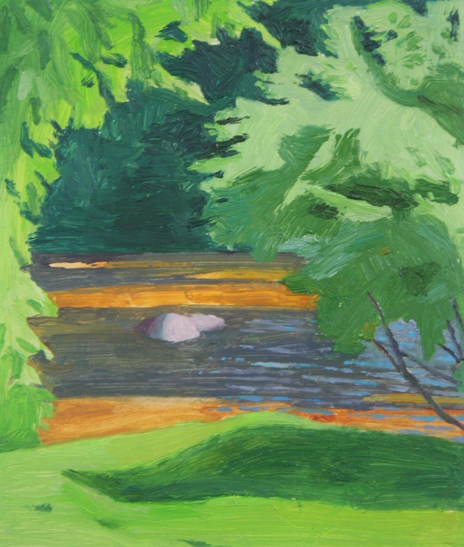 River secret, Oil on panel, 7.5 x 6.5 in, 2016