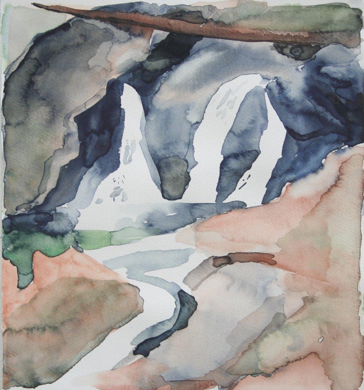 Waterfalls 1, Watercolor, 8.5 x 9 in, 2016