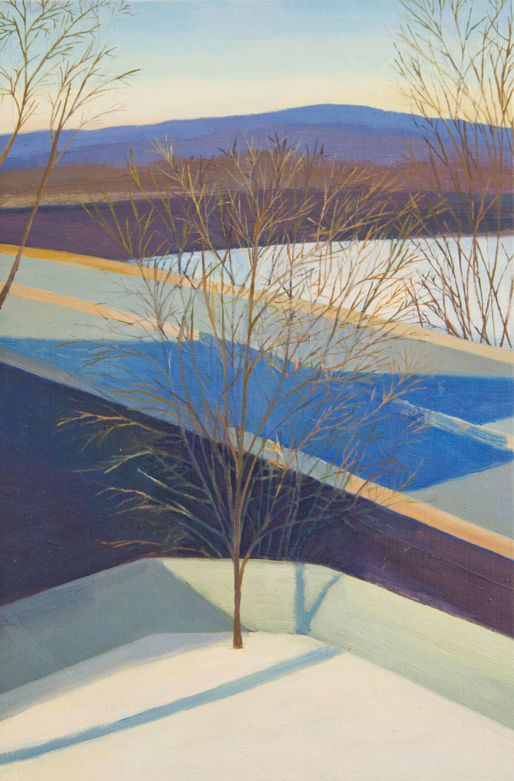 Snow Shadow, Oil on panel, 15 x 10 inches, 2015
