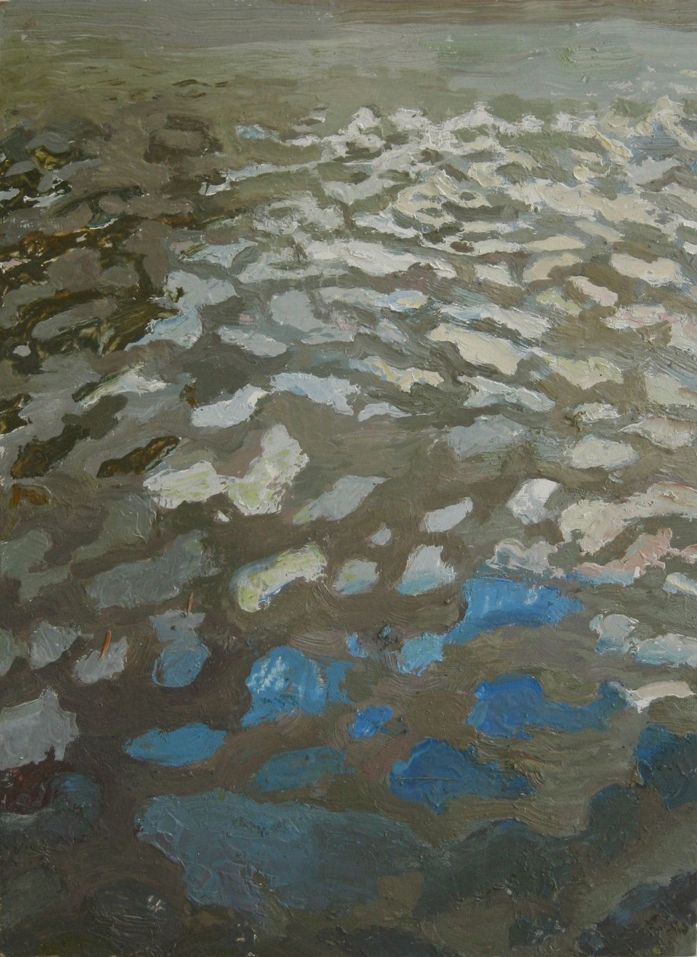 """Mud Reflections, Oil on panel, 12.5 x 9.5 """", 2014"""