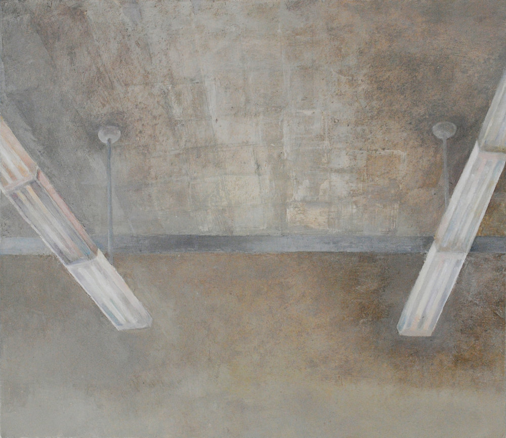Ceiling with Lights, Oil on Canvas, 17 x 21 inches, 2012