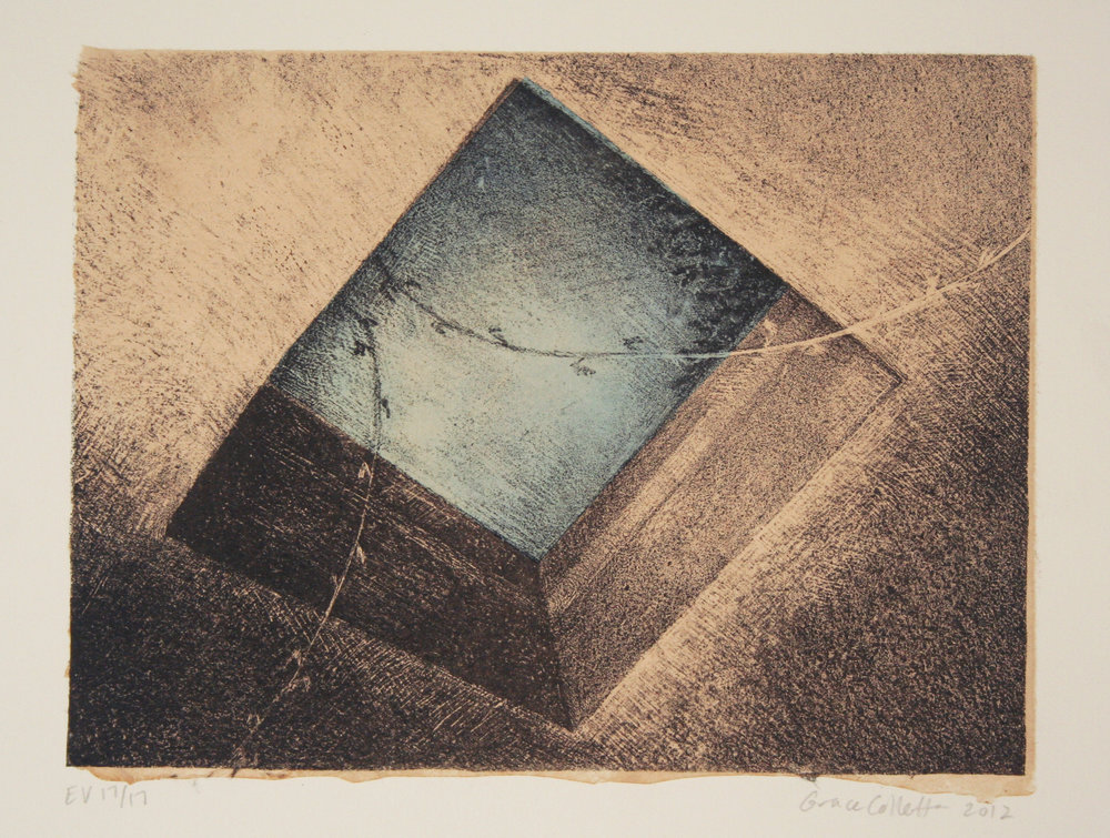 Skylight, Stone Lithograph with Chine-collé, 6 x 8 inches, 2012