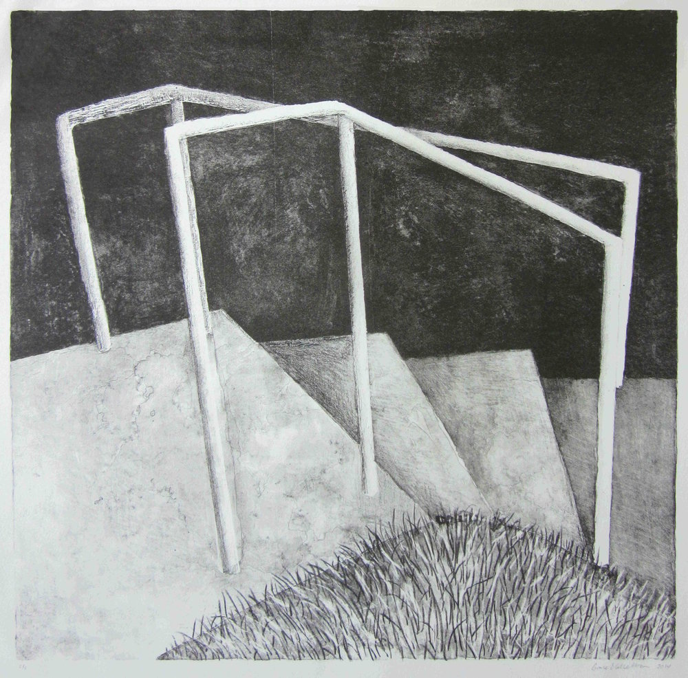 Looking Through Rails, 15.5 x 16 inches, Stone Lithograph, 2014