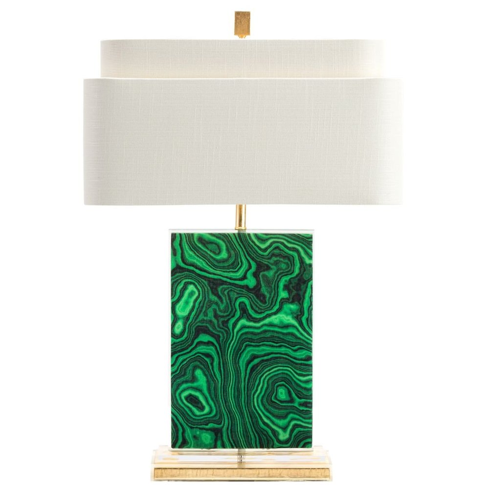 A malachite lamp in a contemporary silhouette, available now at BurkeDecor.com, 475.00 USD