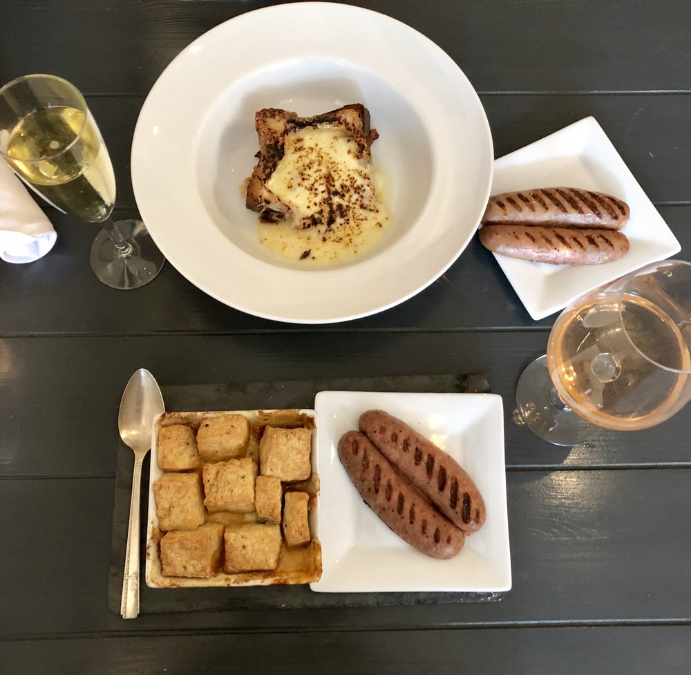 Top: Croque Signore & Chardonnay Prosecco with chicken apple sausage  Bottom: Tomato Cobbler & California Rose with chicken apple sausage