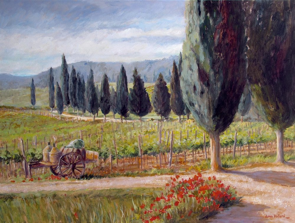Tuscan Wine & Cypress Trees