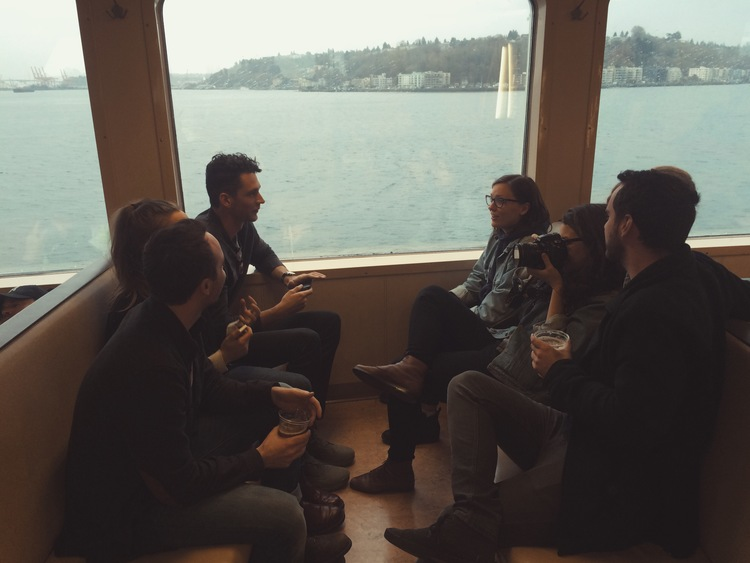 Day one starts with a ferry ride to a small show on Bainbridge Island. I'm shy, and on some pretty intense (medical) drugs at this point, but can already tell these people are significant to me. Side note, didn't see any whales on the way over and was deeply bummed.