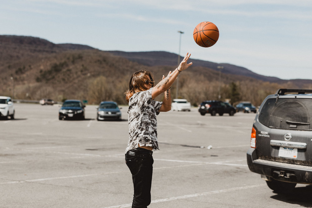 Parking lot hoops en route to Clarksburg, WV.