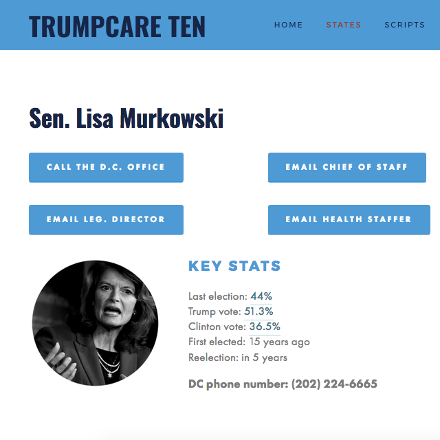 "Indivisible ""Trumpcare Ten ""   Social media campaign strategy and execution for high-profile, national constituent activation campaign that generated 1.3M impressions and 210K website conversions in approximately 20 days."