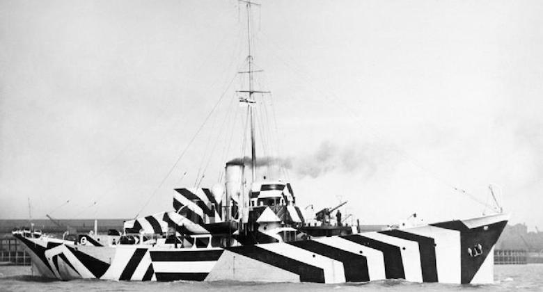 Dazzle camouflage's intersecting geometric patterns, shapes and stripes make it much harder for enemy guns to estimate its position and speed