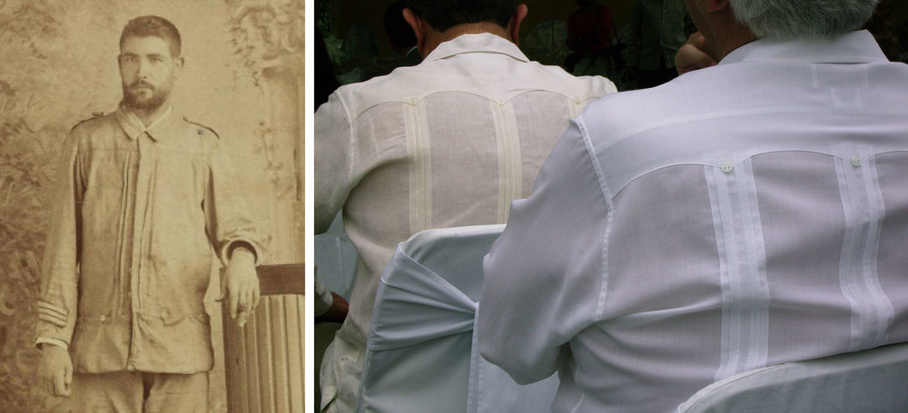 Left: A member of the Spanish Military wears a guayabera; right: The guaybera as an iconic staple of Latin Life.
