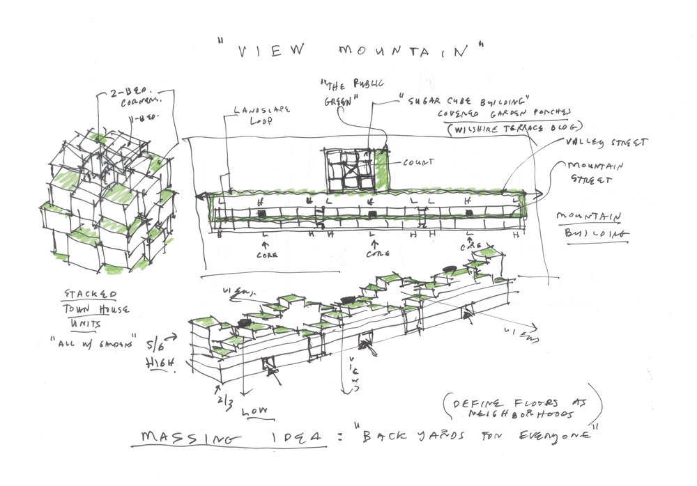 An initial sketch explores the massing ideas which led to the final design and landscape concept