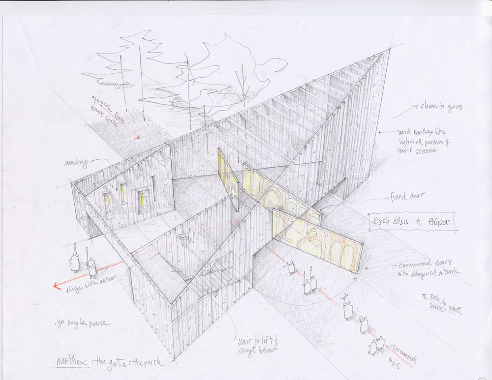 Architecture's partner in visualization from the beginning, a sketch, has the ability to suspend disbelief. The success of the medium is that it conveys an idea without giving too much away.