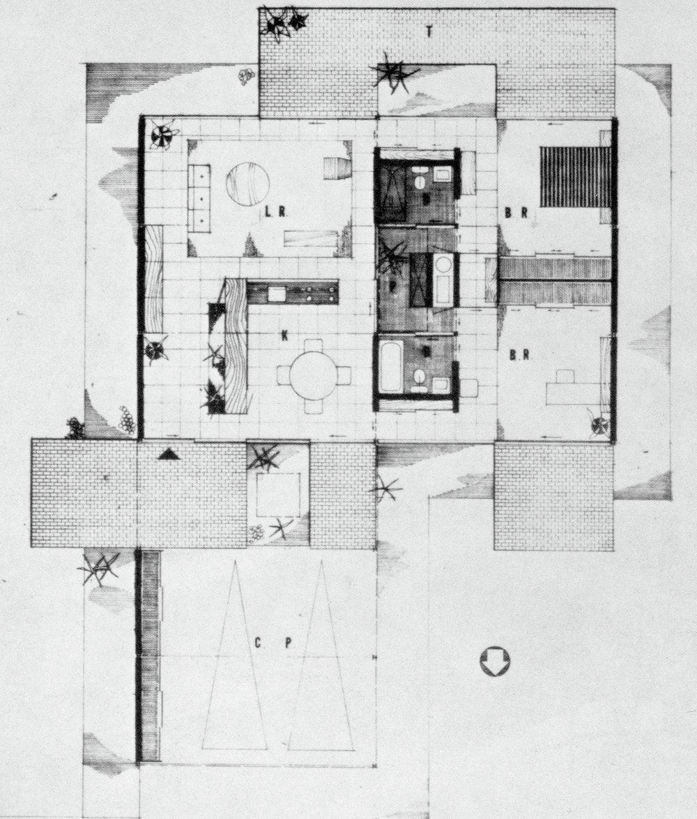 Bailey House Plan, Case Study House No. 1, Pierre Koenig. 1958