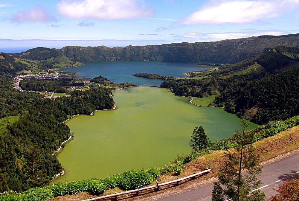 Sete Cidades blue and green lakes.