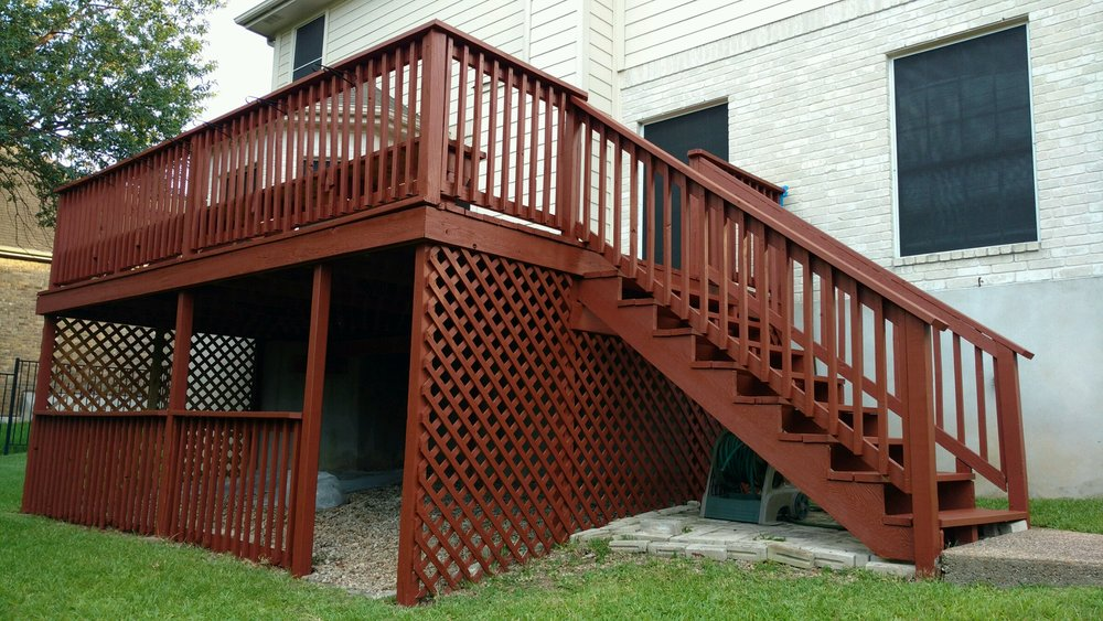 Outdoor deck- built and stained