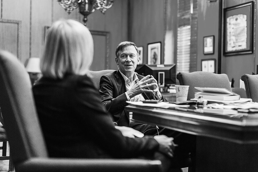 Governor Hickenlooper chats with S+B Publisher Robin Brown in the governor's office at the State Capitol in Denver.