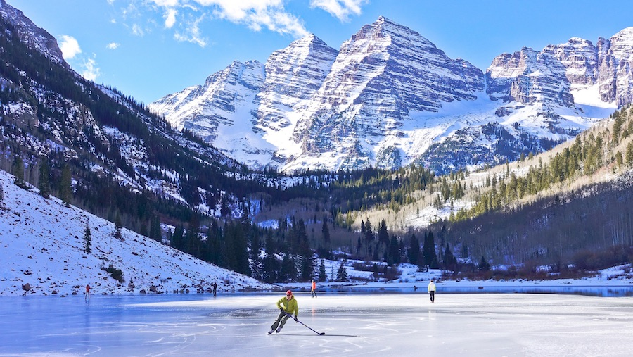 A surreal experience: skating Maroon Lake
