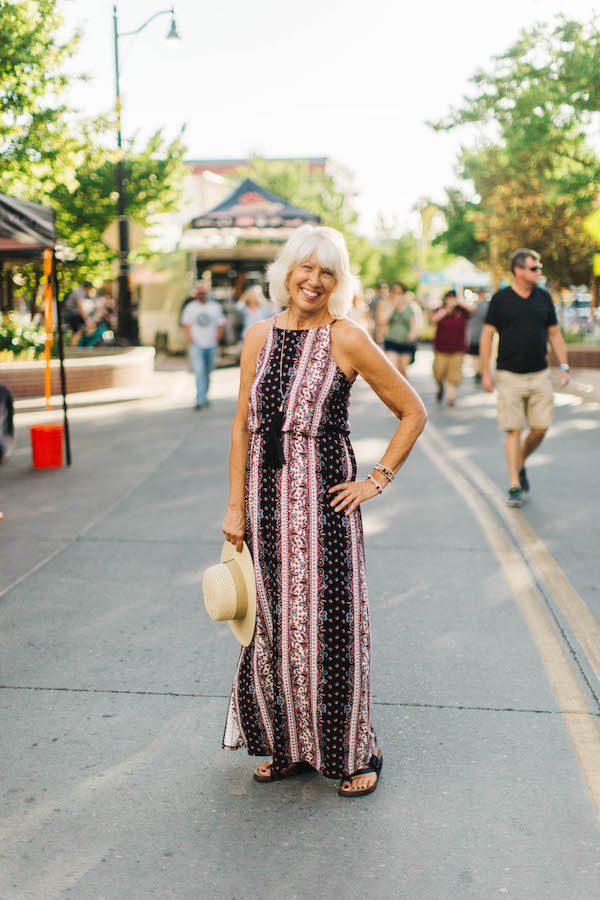 All Day Comfort   Fruita Farmer's Market. Wine tasting with friends. Downtown First Friday Art Walk. Grand Junction Symphony. It's all in a day's fun, and this frock will take you through it with style and comfort. Pair with comfy sandals and your hat and jewelry of choice to let your personality shine.