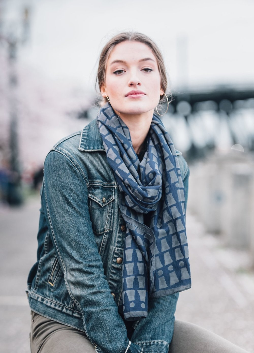 Block Printed Silk Scarf, $79