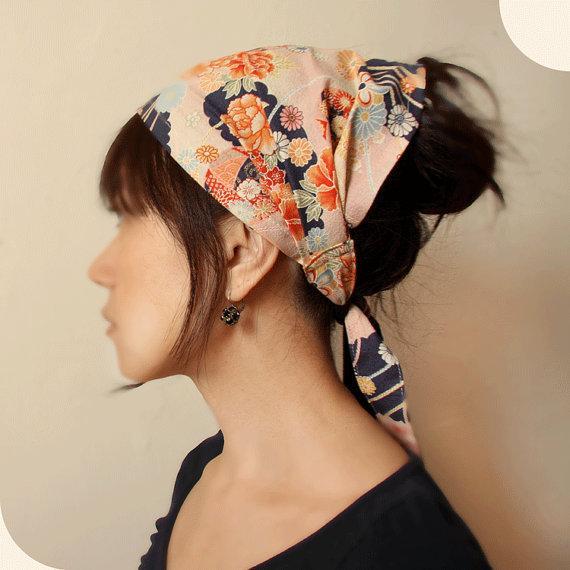 mercato Hair scarf, Japanese Kimono Fabric, Navy, Pink, floral.jpg