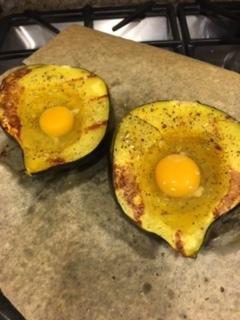 Add an egg to each squash