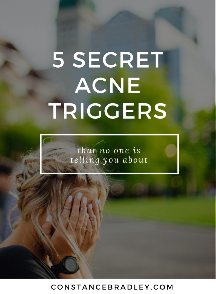These are my 5 top hidden acne triggers including my top acne-causing foods. There are things you do everyday that cause acne, here are my clear skin tips that will help you get glowing skin, smooth skin, and acne-free skin. #DIYbeauty #facemasks #naturalbeauty #skincare #antiaging #acneremedy #acnecure #naturalskincare