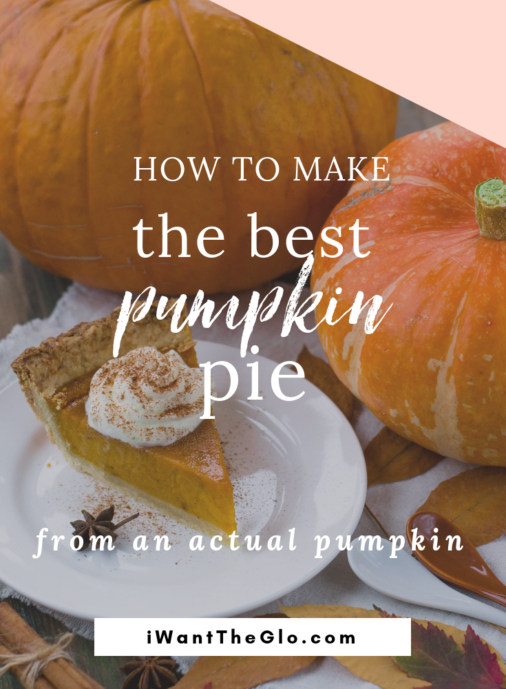 """I've always been enchanted by the adorable little """"sugar"""" pumpkins in the store this time of year. And I always think """"I should make a pie out of one!"""" Then, I forget, get into a rush, and end up making pumpkin pie from a can. And it's always delicious and no one complains that my pumpkin pie comes from a can.  Because I'm busy.  But this year, I picked up a cute little pie pumpkin and decided I was going to set aside a large chunk of time and figure out how to make pie out of it. But guess what? It's easy. Like  easy-peasy-lemon-squeezy  easy. And freakin' amazingly delicious. So, do yourself a favor and make one already. Then, go get a manicure with the extra time you set aside for pie-baking but won't need."""