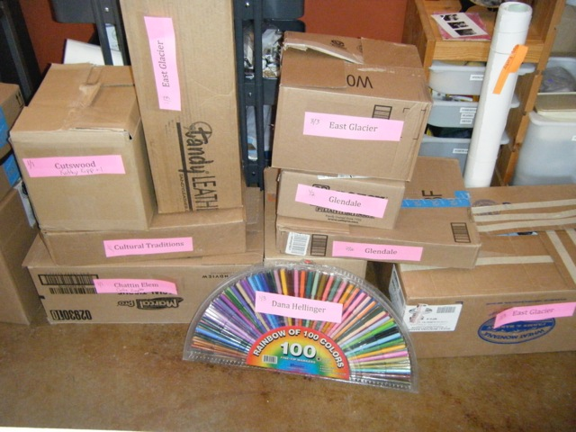 Art supplies packed and ready for delivery to Reservation schools.