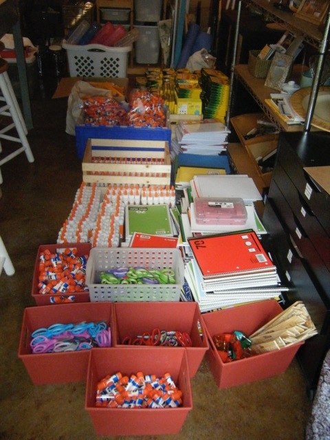 School supplies purchased for donation to Blackfeet Reservation schools.