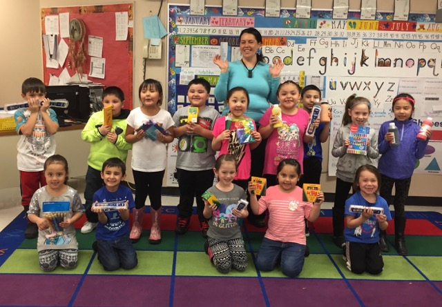 Mrs. Skunkcap's class thanking us for donated art supplies.
