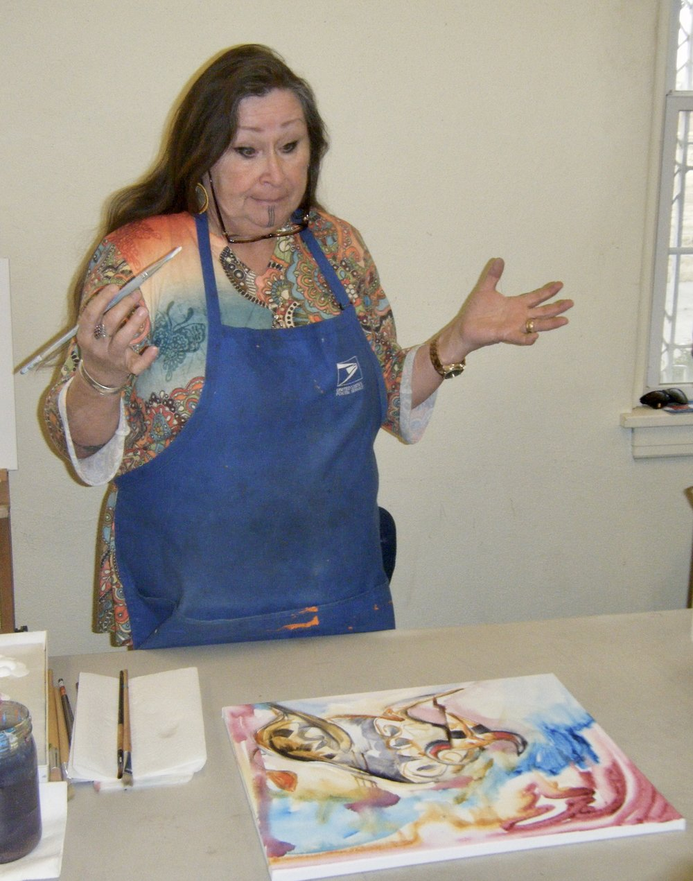 Blackfeet artist, Valentina LaPier teaches techniques and design during the Acrylic Painting Workshop.