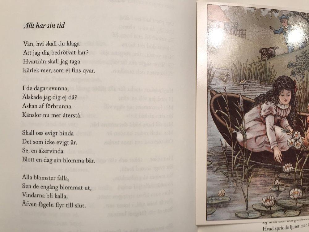 """Allt har sin tid av Emilie Björkstén, 1823-1896.  Svensk Poesi (Daniel Möller och Niklas Schiöller), Albert Bonnies Förlag,sida 386.  Bild: """"Gamla Barnboksbilder. Ur Svenska Barnboksinstitutets samlingar. N.10:"""