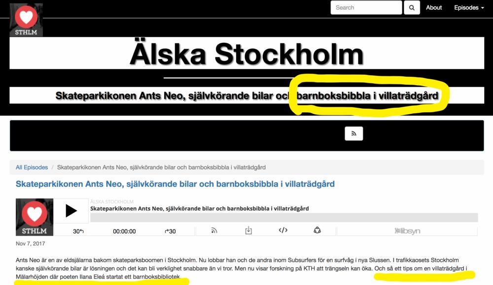 Älska Stockholm Podcast: - Tack så mycket för den fina intervjun om Bibliotek Barnstugan!Ilana Eleá pratar med Viktor Petrovski vid minut 21:56.