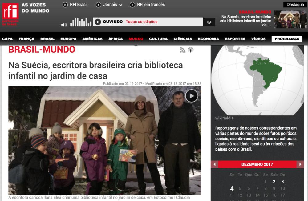 Radio France Internationale: - Merci, Tack & Obrigada! Claudia Wallin intervjuade på portugisiska Ilana Eleá om Bibliotek Barnstugan till RFI,