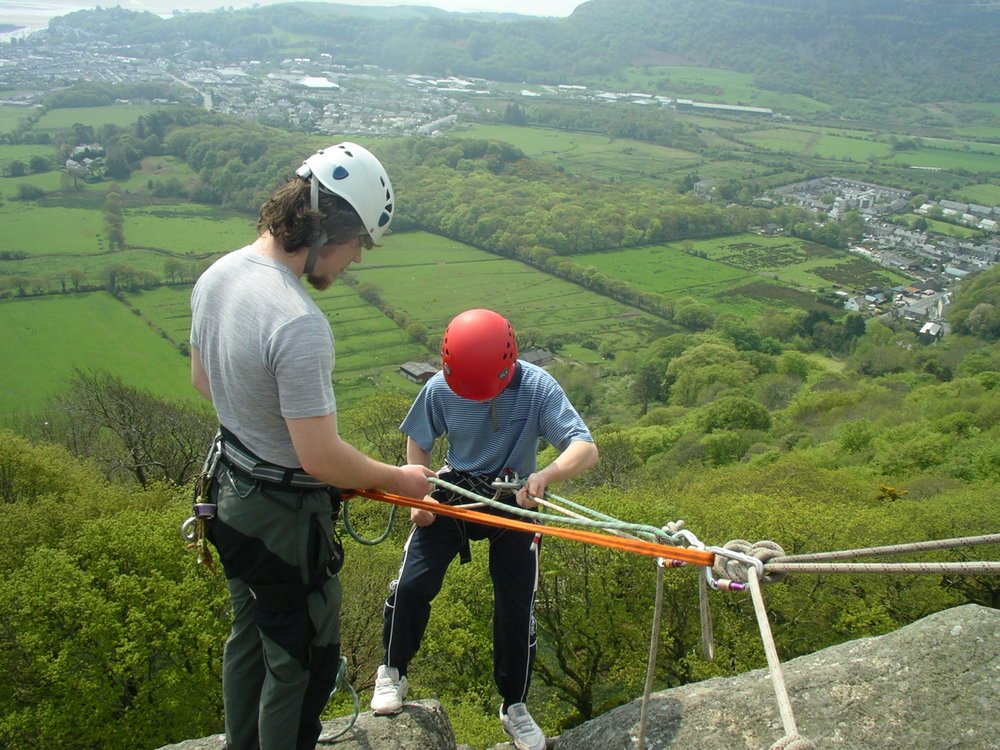 Abseiling at Tremadog Upper tier, North Wales