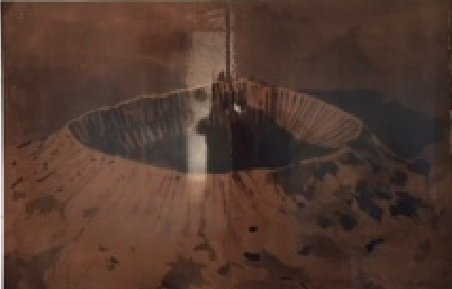 Cráter  Tinta sobre MDF 70 x 1.10m 2015