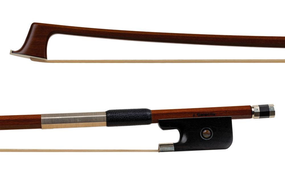 A Sousa Sonata Viola Bow made by J. Galacha - Nickel-mounted ebony frog