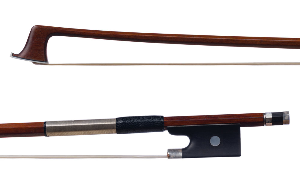 Unstamped German Violin Bow - Silver-mounted ebony frog