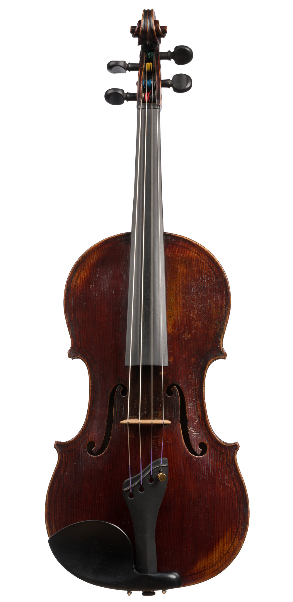 French Viola labeled C. A. Miremont, ca 1850, 15 1/4