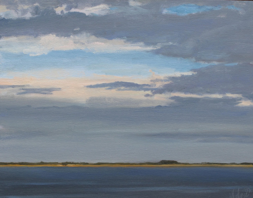 Long Point Sky, Oil on Canvas, 18x14""