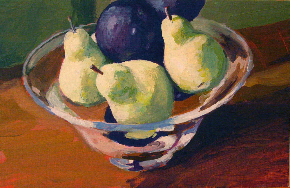 Pears and Plums, Oil on Wood Block, 6x10""