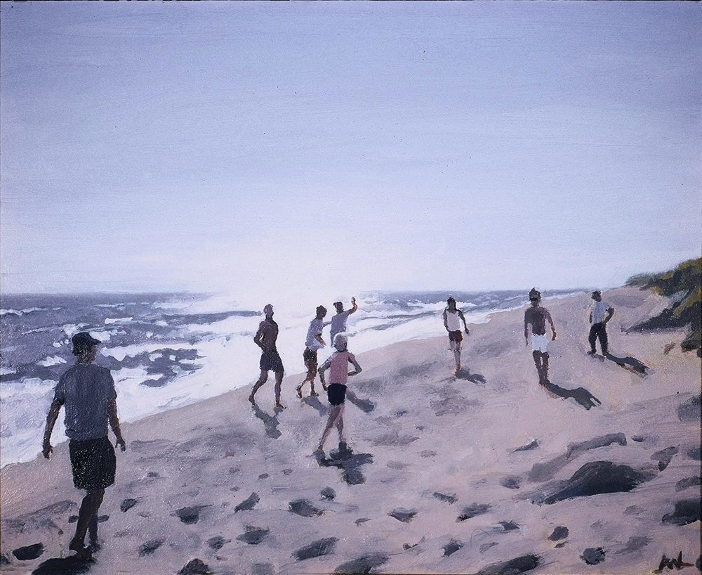Beach Games, Oil on Panel, 10x12""