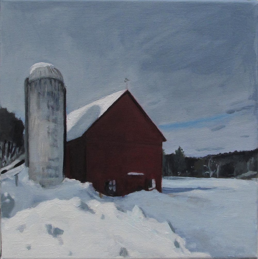 Hale Barn I, Oil on Canvas, 12x12""