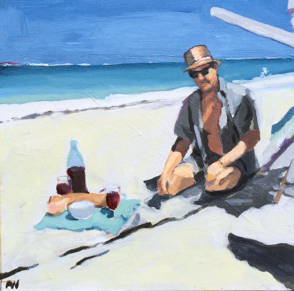 Le Picnic, Oil on Canvas, 14x14""