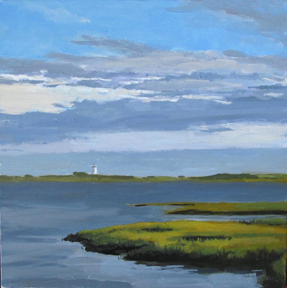 long Point Light House, Oil on Canvas, 16x16""